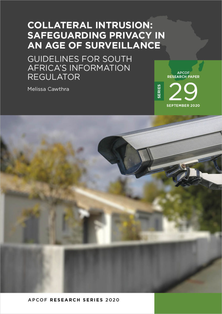 Cover for APCOF Research Paper 29: Collateral intrusions: Safeguarding in an age of surveillance, Lies we tell ourselves