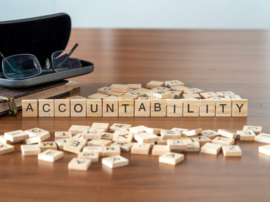 """Image of the word """"accountablility"""" written out in words, 2020 in a nutshell"""