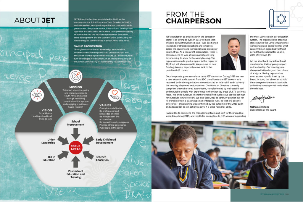 Spread page of Jet Annual Report 2019