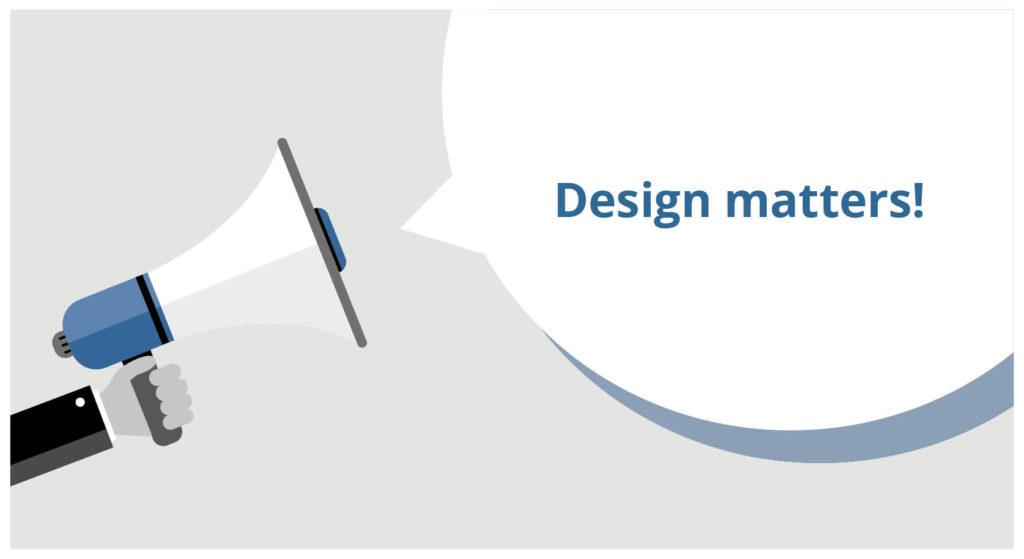 "Compress Newsletter 2: Design matter! Hand holding megaphone blasting ""design matter!"""